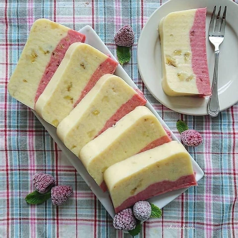 Resep dan cara membuat puding Banana & Raspeberry Bread