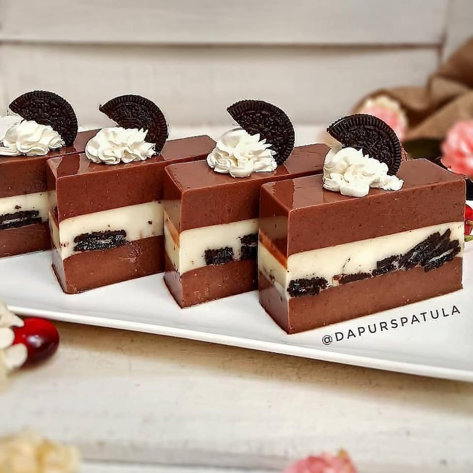 Resep dan cara membuat Puding Coklat Lapis Oreo